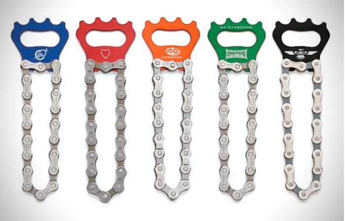 Abrebotellas de cadena de bicicleta reciclada