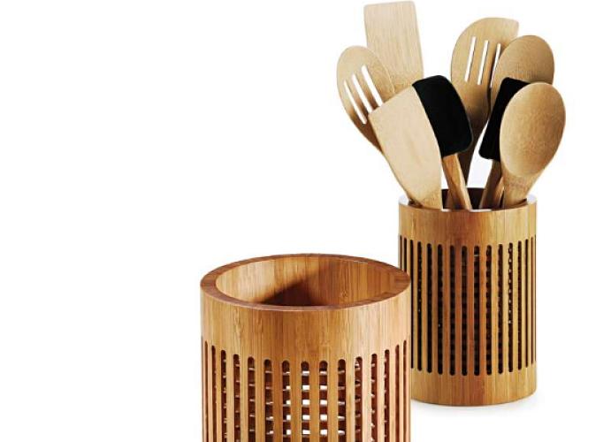 Porta utensilios de bambú