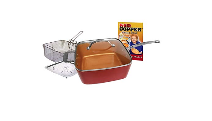 8. Batería de cocina de cerámica antiadherente de cobre rojo (juego de cinco piezas)