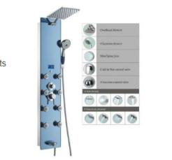 columna de ducha - Panel de ducha Blue Ocean SPV878392H con cabezal de ducha de lluvia:
